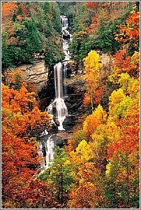 Raven Cliff Falls, the highest waterfall in SC: it plunges off Raven Cliff Mtn at the Blue Ridge Escarpment near Caesars Head. Matthews Creek in Caesars Head SP: an est. 420'