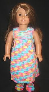 """Nightie, Robe & Slippers - 18"""" Doll Clothes Pattern"""