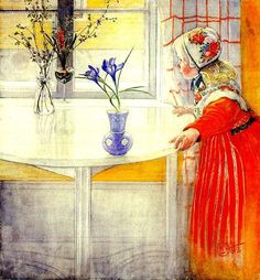Carl Larsson - LillAnna And The Crocus. such a sweet painting. Carl Larsson, Arts And Crafts Movement, Large Painting, Painting & Drawing, Art Sur Toile, Large Wall Murals, Oil Painters, Scandinavian Christmas, Museum Of Fine Arts