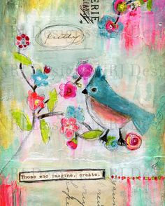 Imagine Mixed Media Original Painting 8x10 inches by NRJDesigns, $15.00