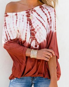 Women Casual Tie Dyed Print Long Sleeve Blouse For Work Off Shoulder Autumn Loose Tops Shirts For Teens -- Check this awesome product by going to the link at the image. (This is an affiliate link) Casual Tie, Casual Wear, Orange Tie, Tie Dye Shirts, Tie Dye Long Sleeve, Red Blouses, Fashion Blouses, Basic Tops, Batwing Sleeve