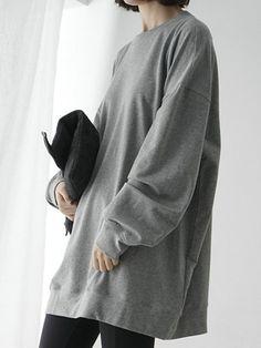 Grey Loose Longline Sweatshirt | Choies