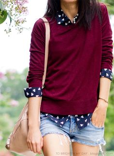 I like the layered polka dot collared shirt and deep red sweater