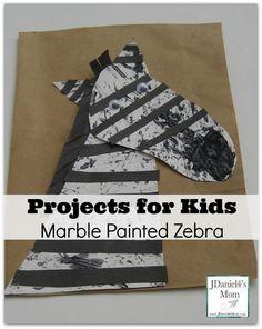 Marble Painted Zebra- Children create this zebra using several fine motor skills.