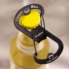 flat s-biner, doubles as a bottle opener