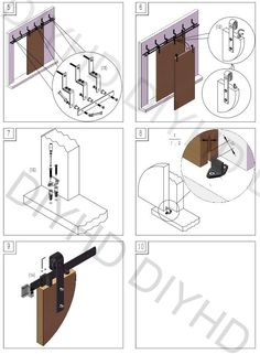 5 / 6 / 6.6 / 8ft Bypass deslizante granero de madera puerta del armario rústico hardware negro en Puertas de Mejoras para el Hogar en…