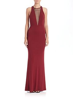 ABS - Cutout Jersey Deep V-Neck Gown