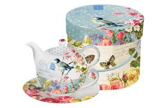 Shop for vintage bird floral butterfly bone china tea for one teapot, cup and saucer set with gift box from Paperproducts Design. Vintage Birds, Vintage Tea, Lulu Shop, Tea For One, Table Design, Pip Studio, Dinner Sets, Cup And Saucer Set, Bone China