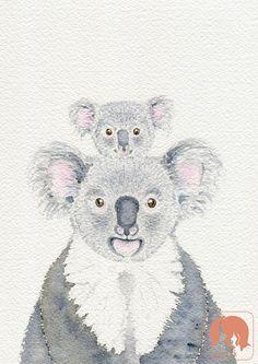 Koala Mother with Joey on Back II Animal and Nature Art