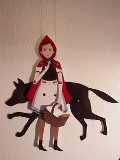 Little Red Riding Hood jointed paper doll, with wolf by Amy Earles - fairy tales Little Red Ridding Hood, Red Riding Hood, Hansel Y Gretel, Marionette, Doll Painting, Gouache Painting, Big Bad Wolf, Movie Props, Red Hood