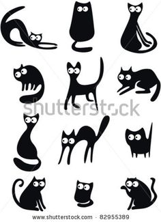 stock vector : Set of black cat silhouettes