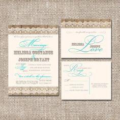 Christian Wedding Invitation Set  Rustic Lace Wood