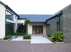 Andrew O'Brien | Architects Modern Bungalow Exterior, Stone Exterior Houses, Modern Bungalow House, Dream House Exterior, Stone Houses, Modern House Design, Dormer Bungalow, Bungalow Ideas, Front House Landscaping