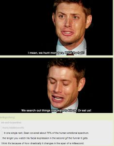 [GIFSET] 4x06 Yellow Fever....In one single rant, Dean covers about 75% of the human emotional spectrum....