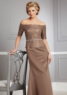 A-line Off-the-shoulder Floor-length in Satin Lace Mother of the Bride Dress