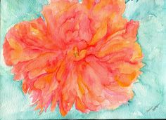 Coral Peony on Mint Watercolor Painting 9 x 12 by SharonFosterArt, $40.00