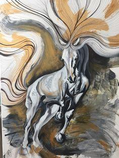 """Tied up"" / acryl on canvas 50x70cm/ horse, white horse, wild horse, painting, acrylic paint"