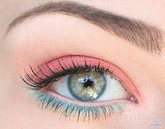 #makeup #coral #blue #tropical