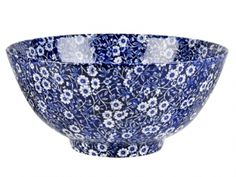 "Blue Calico Chinese Bowl.  BLue Calico Pattern Chinese Bowl 11"" in diameter. Large deep bowl for serving."