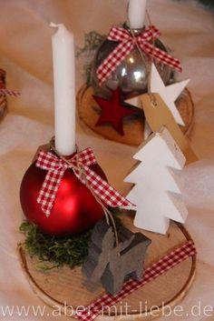 Kleine Adventsdeko, kleine Kerze in Christbaumkugel; Weihnachtliche Deko von www.aber-mit-liebe.de/galerie.php