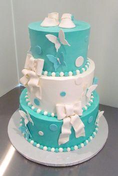 Bows U0026 Butterfly Baby Shower Cake Www.milkandhoneycakery.com