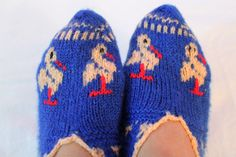 Hand knitted women's winter warm slippers house socks by AsyaKnit