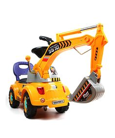Take a look at this Yellow Ride-On Excavator Scooter Set today!