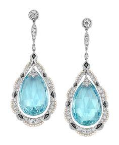 Pair of Edwardian Platinum, Aquamarine Briolette, Diamond, Black Onyx and Seed Pearl Pendant-Earclips