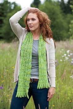 Yo-Yo á Go-Go Scarf & Stole   Knitting pattern by Emily Ross (knitterain)  Lace pattern for scarf or stole. Matching fingerless gloves also available.