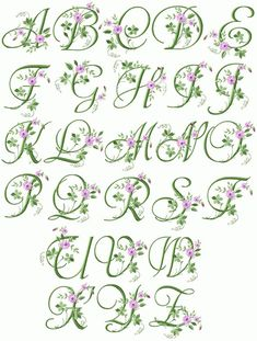 Machine Embroidery Designs Crochet Lace Handkerchief with Elegant Floral Initials Design Monogram Alphabet ( Embroidery Alphabet, Embroidery Monogram, Silk Ribbon Embroidery, Embroidery Fonts, Vintage Embroidery, Flower Embroidery, Embroidery Thread, Embroidery Boutique, Embroidery Sampler