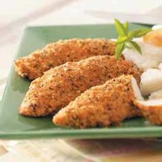 Seasoned Chicken Strips - we make these on a regular basis as a substitute for chicken nuggets. We make both strip sizes & nugget sizes. Home made chicken nuggets! Oh, and it is quick!