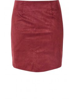 Burgundy Suede Curve Hem Mini Skirt