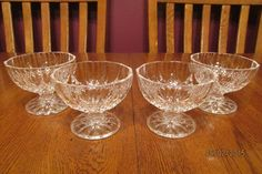 Four Vintage Cristal D'Arques Longchamp Clear Crystal Footed Fruit Dessert Bowls $37.99