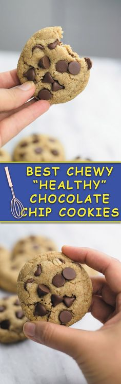 Whole wheat flour oats and half the fats make these the BEST CHEWY HEALTHY CHOCOLATE CHIP COOKIES! Same great taste but less fat!