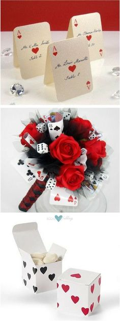 From elopements to the full blown wedding affair, getting married in Vegas can turn any dream into a reality. Las Vegas weddings place cards. 'Bet on Love' bridal bouquet. Casino dice Las Vegas theme favor boxes.