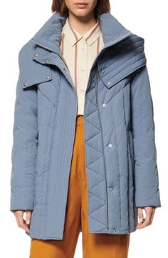 Women's Andrew Marc Hooded Down & Feather Cocoon Coat, Size Medium - Blue Down Feather, Andrew Marc, Dusty Blue, Neck Warmer, Hoods, Raincoat, Nordstrom, Jackets, Shopping