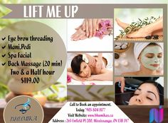 Bhumika Presents Special Offer For All Womens Now Get , Eye Brow Threading  Manicure , Pedicure  Spa Facial Back Massage ( 20 Mins )  In Just $119.00 For APPOINTMENT & More QUERIES : Call : 904-804-8177 Visit : www.bhumikas.ca #salonnspa #Nails #nail  #Beauty #Fashion #manicure #beautiful #cute #pedicure #silver #bridalmakeup