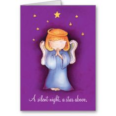 A silent night christmas angel greeting card mauve. Features watercolor art and design by www.sarahtrett.com