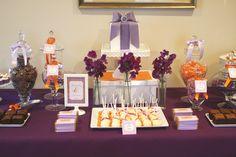 Purple & Orange Engagement Party dessert table by Mon Tresor