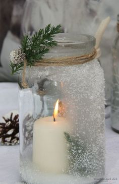 Pillar Candles, Candle Jars, Candle Holders, Mason Jars, Christmas Time, Christmas Crafts, Xmas, Aperol Drinks, Wine Bottle Crafts