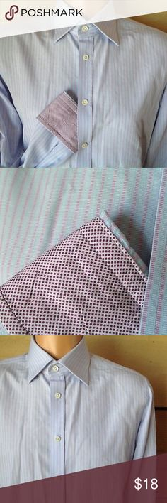 Charles Tyrwhitt Tailored Flip Cuff Long Sleeve 16 Charles Tyrwhitt Tailored Shirt Men Size 16 - 33  Long Sleeve Flip Cuff  Blue Woven Stripe with Red Polka Dot Coordinating Fabric inside cuff  inches Armpit to Armpit:22 Shoulder Seam to Hem: 29.5 Shoulder Seam to Cuff: 25  Charles Tyrwhitt Tailored Shirt Men Long Sleeve Flip Cuff Charles Tyrwhitt Shirts Dress Shirts