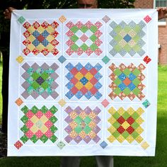 https://flic.kr/p/cD4ZEo | GGA Quilt Top 5 | My GGA Quilt Finish with Hand Applique Squares in the sashings