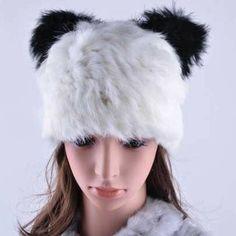 d3508d8153f Panda beanie. Rabbit Fur HatRex RabbitBeanie Hats For WomenWinter ...