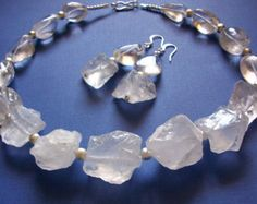 Rough Quartz Statement Necklace Big Bold Chunky Raw Crystal Quartz Necklace Semi Precious Natural Stone Gemstone Cloudy White Necklace
