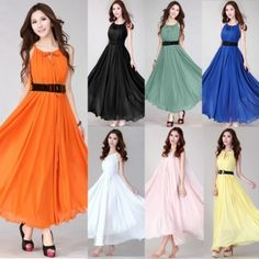 Fashion Ladies Bohemian Style Spaghetti Strap Solid Casual Formal Evening Long Chiffon Dress