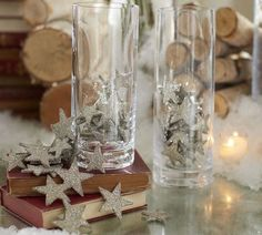 German Glitter Stars Vase Filler - contemporary - accessories and decor - by Pottery Barn Noel Christmas, White Christmas, Christmas Crafts, Christmas Decorations, Holiday Decorating, Christmas Ideas, Cottage Christmas, Christmas Glitter, Christmas Inspiration