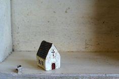 Miniature Irish Church Hand Painted Paper Clay -- Handmade in Ireland. via Etsy. Clay Houses, Ceramic Houses, Miniature Houses, Miniature Dolls, Wooden Houses, Mini Houses, Small Houses, Clay Projects, Clay Crafts