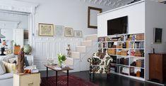 Scandinavian interior design living with bedroom mezanine