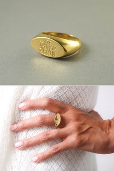 Gold Monogram Ring by Yeheli.  #MonogramRing  #InitialRing  #SignetRing #ChristmasGift