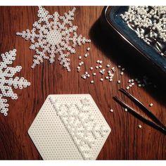 Snowflakes hama beads by mrspinehill